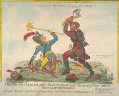 """1812.A redrawn version of a Russian caricature (on Napoleon's 1812 campaign in Russia) by British artist George Cruikshank.A Russian peasant holds a bloody axe above Frenchman's head,ready to strike.On the ground are the bodies of two French officers,whose skulls have been split by the Russian soldier's axe.British caricature.Dorothy George translates the caption as: """"There were hordes of you,weren't there?Well,that's the lot!That's what you were up to, trying to hack your way through;in…"""