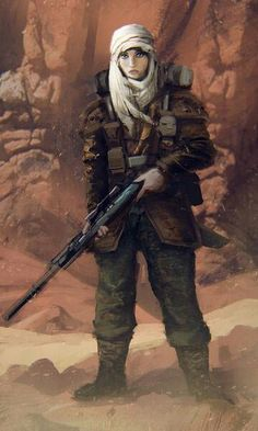 Imperial guard: Female Tallarn sniper.