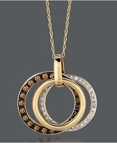 Le Vian's Chocolate Diamonds® and   Vanilla Diamonds™ triple hoop necklace in 14k Honey Gold™