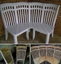 How To Make A Corner Bench Using 4 Old Chairs