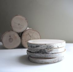 natural white birch wood coaster - set of 4. $26.00, via Etsy.