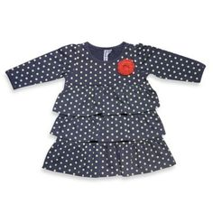 3-Tier Polka-Dot Dress in Blue/White - buybuyBaby.com