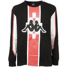 Kappa X Sweatshirt (3.594.025 IDR) ❤ liked on Polyvore featuring men's fashion, men's clothing, men's hoodies, men's sweatshirts, black and marcelo burlon