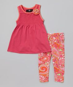 Another great find on #zulily! Pink Tunic & Coral Paisley Leggings - Infant, Toddler & Girls #zulilyfinds