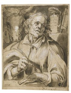 Abraham Bloemaert GORINCHEM 1566 - 1651 UTRECHT SAINT LUKE Pen and brown ink and greenish-grey wash, heightened with white, within black chalk and ink framing lines; dated, lower left: 1629, and bears attribution, lower right margin: Blomart 206 by 163 mm