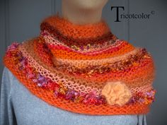 """Col snood orange tricoté à la main """" Collection Camaïeu """" : Echarpe, foulard, cravate par tricotcolor"""