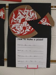 Writing: Organization/Procedure - How to make a pizza! (Step 1: make it with a better cook than Ms. Lawson is.)