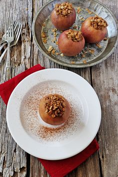 Slow-Cooker GF Granola Stuffed Apples | A simple slow cooker dessert with lots of flavor, these stuffed apples are cored, packed with a mixture of vanilla kissed granola, coconut milk, and honey, then cooked to perfection.