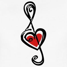 Note music heart classic, treble clef, violin Women's T-Shirts