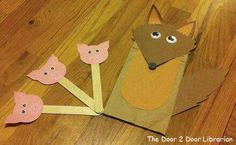 The wolf and the 3 Little Pigs/Crafts Paper bag/puppets/titeres