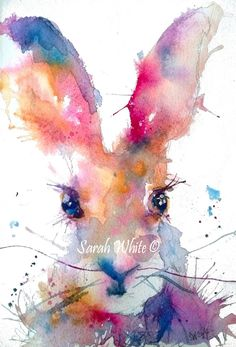 Rainbow Watercolour Hare print by inspirestudiogallery on Etsy