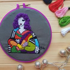 Mona Lisa Inspired Embroidery Hoop- Embroidery Hoop Art - Wall Hanging Gift - Hand Embroidered Art Decor Different Stitches, Embroidery Hoop Art, Hanging Wall Art, Lovers Art, Art Decor, Mona Lisa, Coin Purse, Etsy Shop, Inspired