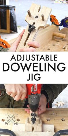 How to Make an Adjustable Doweling Jig — Custom Woodworking Jigsaw, Easy Woodworking Projects, Woodworking Techniques, Woodworking Furniture, Diy Projects Plans, Diy Wood Projects, Diy Lathe, Wood Jig, Woodshop Tools