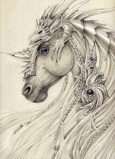 Elven Horse ~by Anwaraidd Nahar The dragon on top is awesome armor! Magical Creatures, Fantasy Creatures, Fantasy Kunst, Fantasy Art, Unicorn Fantasy, Unicorn Horse, Horse Drawings, Art Drawings, Fantasy Drawings