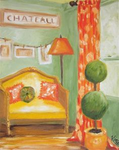 Original Oil Painting: French country interior I. $68.00, via Etsy.
