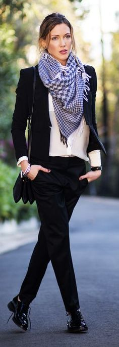 Fall / Winter - business casual - office wear - work outfit - black suit + cream shirt + black patent leather oxfords + black and white houndstooth pattern scarf + black messenger bag