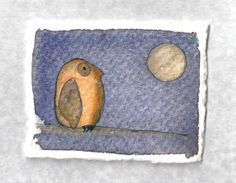 Owl Miniature Owl Watercolor Painting on by ElissaSueWatercolors, $15.00