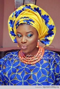 Nigerian Wedding Colors | Nigerian Wedding yellow and blue asooke colors