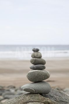 Stone Tower, Balance, Pebble Stones, Beach Photographic Print by Andrea Haase at Art.com