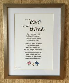 Want an unusual gift for a new baby, an adorable present for new parents, or a unique memento to mark the birth of a child? The poem When two became three has been beautifully crafted by Ally Pally Poems, expert writer of unique and thoughtful poetry gifts for all occasions. The words