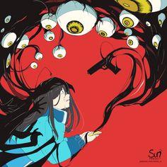 Dark Art Illustrations, Illustration Art, Sad Anime, Anime Art, Aesthetic Art, Aesthetic Anime, Sun Projects, Dark Drawings, Vent Art