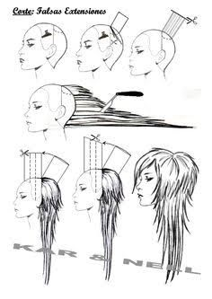 layered haircuts long hair illustration - Google Search