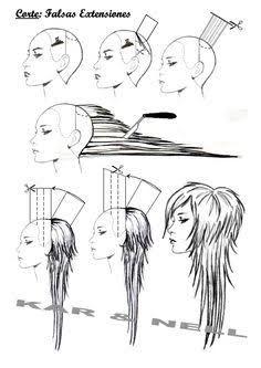 layered haircuts long hair illustration - Google Search