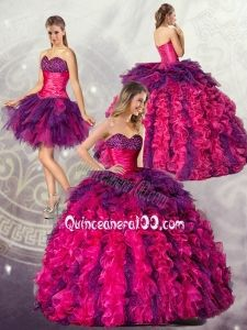 The Most Popular Ball Gowns Sweetheart Detachable Quincenera Dresses