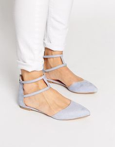 ASOS | ASOS LOWER Pointed Double Strap Ballet Flats at ASOS