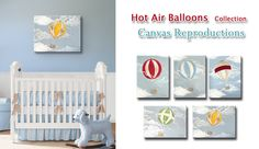 Hot Air Balloon Nursery, Boys Nursery Art, Boys Room Wall Decor ,Green Hot Air Balloon Canvas Art for Children,. $65.00, via Etsy.