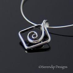 Square Spiral Argentium Pendant