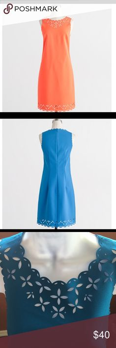 J Crew Laser Cut Blue Floral Dress Beautiful Blue J Crew Laser Cut Floral Dress that shows detail cut on neckline and bottom of the dress. It has a back zip with hook and eye closure. J. Crew Dresses Midi