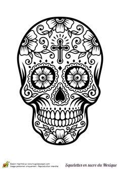 Coloriage crâne en sucre mexicain, multiple fleurs - Hugolescargot.com