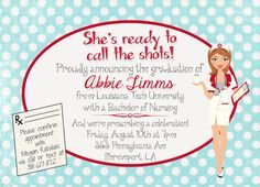 nursing  pharmacist  medical degree graduation party invitation, invitation samples