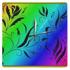 Rainbow Floral Wall Clocks