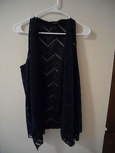 Rue-21-Navy-Vest-Size-Large-with-Crocheted-Dress-Semi-Formal-Beautiful-Condition $9.24