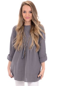 Textured Babydoll Tunic, Grey :: NEW ARRIVALS :: The Blue Door Boutique