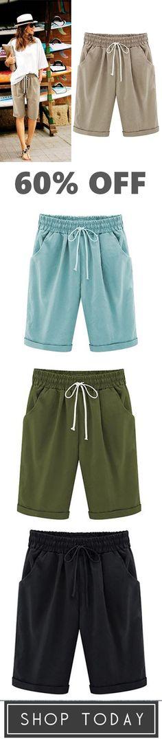 e78bb9ca07 Summer Shorts Lace Up Elastic Waistband Loose Panties Short Tops, Cotton  Pants, Summer Shorts
