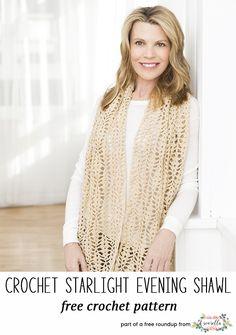Crochet this easy starlight evening shawl from my stylish crochet shawls free pattern roundup!