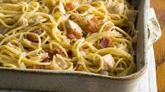 Chicken Carbonara (notes: break up spaghetti more, triple the sauce of cream & parmesan)