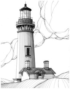 Learning to Draw? You're Gonna Need a Pencil - Drawing On Demand Lighthouse Sketch, Lighthouse Art, Perspective Drawing, Desenho Tattoo, Illustration, Line Drawing, Drawing Faces, Pyrography, Art Techniques