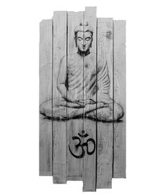 buddha and ohm on rustic wood painting