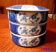 70's Vtg Japanese Porcelain Jubako Stacking Rice Food Bento Box Bowls Blue White…