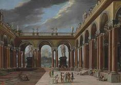 Viviano Codazzi (Bergamo 1604-1670 Rome) | An architectural capriccio of a loggia with elegantly-dressed figures, the sea and mountains beyond | Old Master & British Paintings Auction | 17th Century, mid 17th Century | Christie's www.christies.com340 × 240Buscar por imagen An architectural capriccio of a loggia with elegantly-dressed figures, the sea and mountains beyond Architectural Capriccio with Jephthah and His Daughter, by Dirck van Delen - Buscar con Google Old Master, 17th Century, Rome, Taj Mahal, Auction, British, Daughter, Van, Mountains