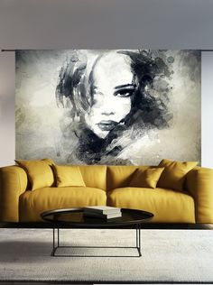 Wandkleed The Look Urban Cotton - Decoratie - Schilderij - Wanddoek - The Look - organisch katoen - Schilderij - cm - Maat L. Wandkleed THE. Salon Interior Design, Picture Design, Portrait Art, Portrait Ideas, Face Art, Painting Inspiration, Art Decor, Decoration, Modern Art