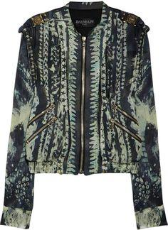 BALMAIN  Printed Silk Bomber Jacket