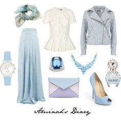 Baby blue skirt, baby blue jacket, white shirt, printed scarf, blue heels, blue necklace, blue ring, watch, perfume