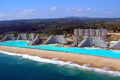The world's largest swimming pool at the San Alfonoso del Mar Resort in Algarrobo, Chile.