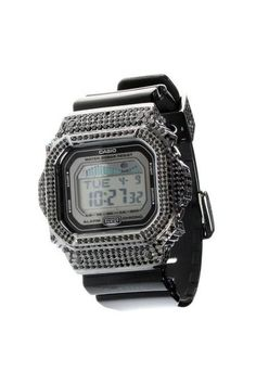 #ReCreatePH G-shock GLX-5600-1 (Base watch): This G-shock's black Rhodium-plated face comes with 624 pieces of Cubic zirconia, it has been smoke finished, and partnered with a black band.