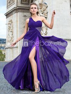 Sheath/Column One Shoulder Floor-length Chiffon Evening Dress - USD $ 195.99